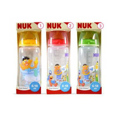 Nuk First Choice Biberón Barrio Sesamo Latex Talla 1M 0-6 Meses 300 ml.