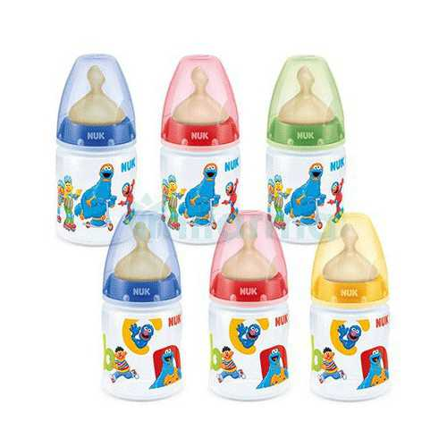 Nuk First Choice Biberon Barrio Sesamo Latex Talla 1M 0-6Meses 150 ml.