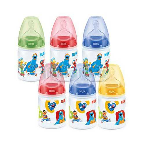 Nuk First Choice Biberon Barrio Sesamo Silicona Talla 1M 0-6 Meses 150 ml.