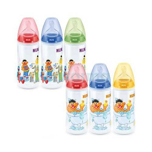 Nuk First Choice Biberón Barrio Sesamo Silicona Talla 1M 0-6 Meses 300 ml.